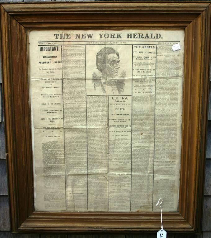 FRAMED AND GLAZED NEWSPAPER, FRONT PAGE