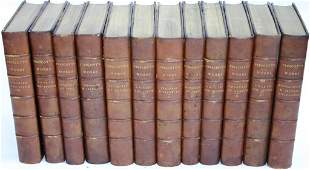 12 LEATHER BOUND BOOKS WITH MARBLEIZED