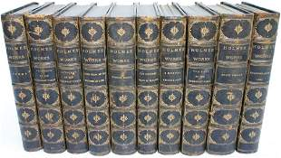 10 LEATHER BOUND BOOKS WITH MARBLEIZED