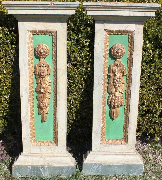 9: PAIR OF CARVED, GILDED AND PAINTED