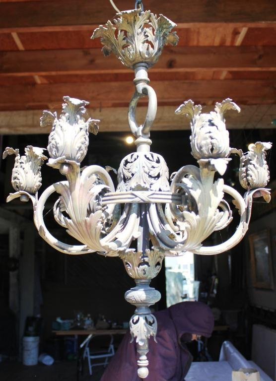 16: CAST BRASS CHANDELIER, POSSIBLY