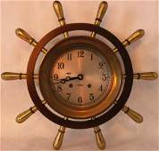 CHELSEA BRASS SHIP'S WHEEL CLOCK WITH