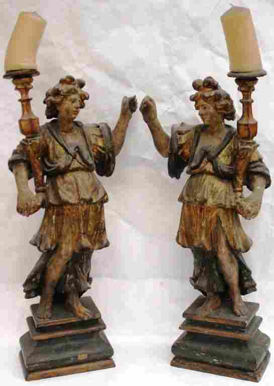 PAIR OF CARVED AND GILDED WOODEN