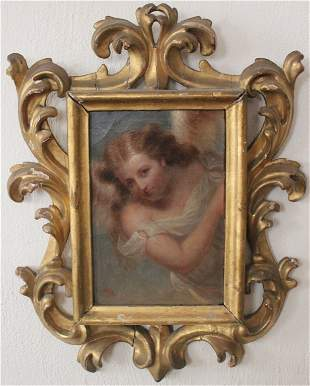 """FRAMED OIL PAINTING ON CANVAS """"ANGEL IN SKY"""""""