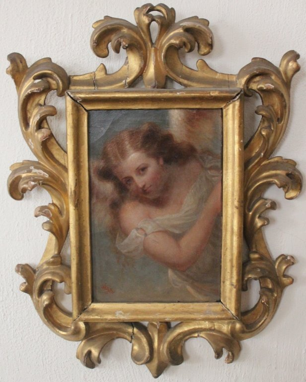 """1: FRAMED OIL PAINTING ON CANVAS  """"ANGEL IN SKY"""""""