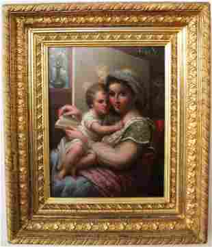 """OIL PAINTING ON BOARD TITLED """"WOMAN AND CHILD"""""""
