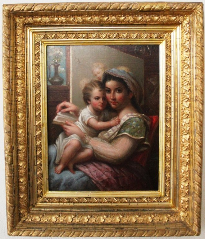 """3: OIL PAINTING ON BOARD TITLED """"WOMAN AND CHILD"""""""