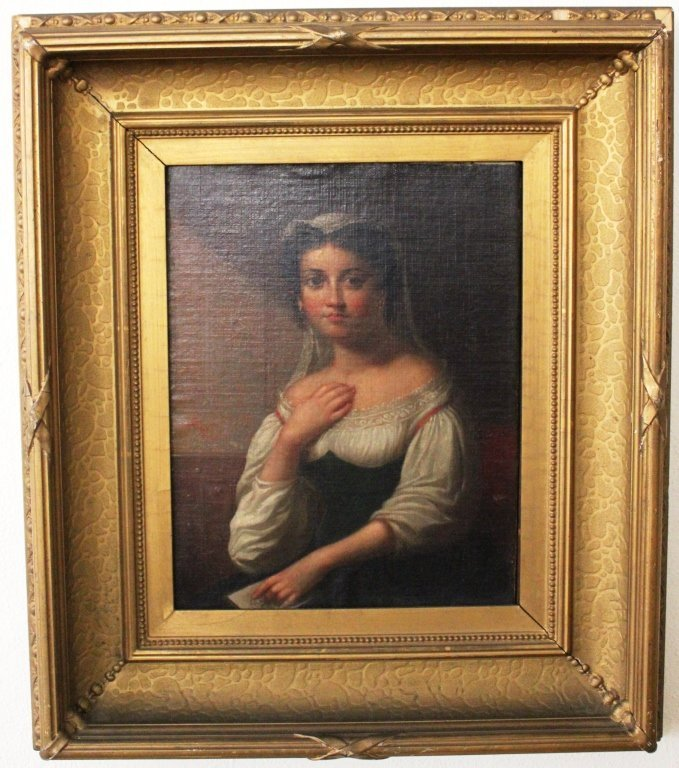 """4: OIL PAINTING ON CANVAS TITLED """"A WOMAN FROM ITALY"""""""