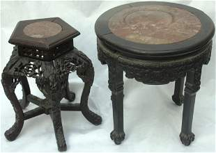 PAIR OF LATE 19TH CENTURY CARVED TEAK STANDS