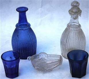 5 PCS OF 19TH CENTURY SANDWICH GLASS, INCLUDING