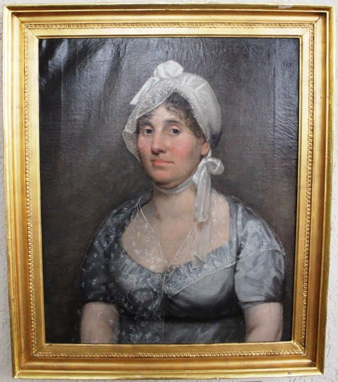 12: OIL PAINTING OF MRS. MARY SCOTT, BORN 1765, OF