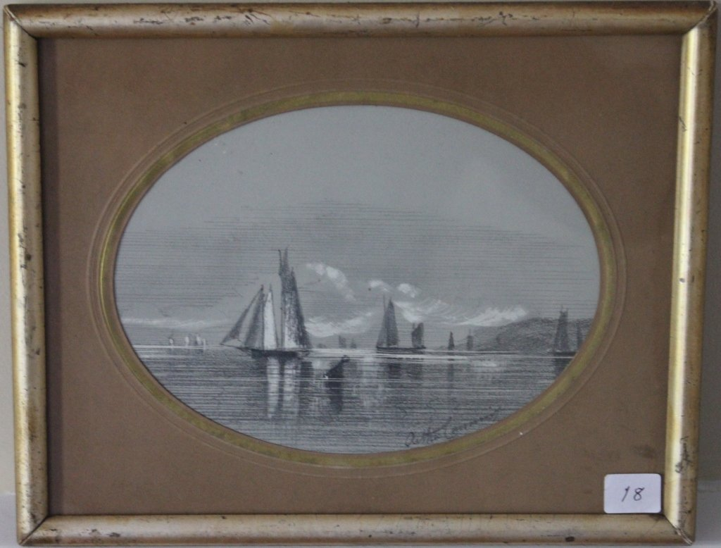 18: FRAMED AND GLAZED CHARCOAL AND CHALK DRAWING