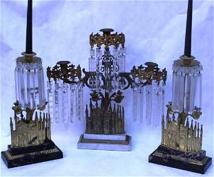 3 SIMILAR GIRONDALE CANDLESTICKS WITH STEPPED
