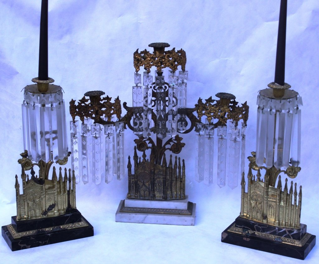 21: 3 SIMILAR GIRONDALE CANDLESTICKS WITH STEPPED