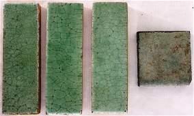 64: LOT OF 4 GRUEBY POTTERY TILES, 3 RECTANGULAR SHAPE