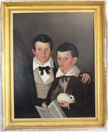104: MID 19TH CENTURY FRAMED OIL ON CANVAS PORTRAIT