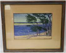 FRAMED AND GLAZED HAND COLORED SEASCAPE