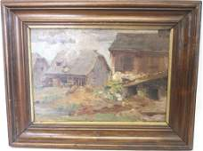 FRAMED OIL ON CANVAS  SHOWING OLD HOUSE
