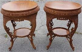 IMPORTANT PAIR OF VICTORIAN WICKER TABLES CA 1898;