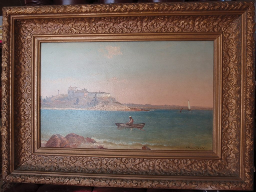FRAMED OIL PAINTING ON CANVAS, MAN IN DORY OFF