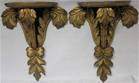 PAIR 19TH C CARVED AND GILDED WOODEN WALL SHELVES