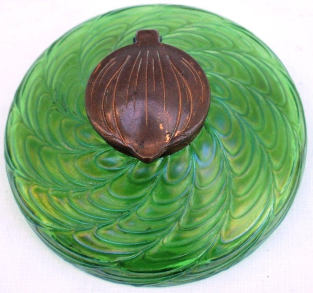 GERMAN ART GLASS INK WELL, GREEN IRIDESCENT,