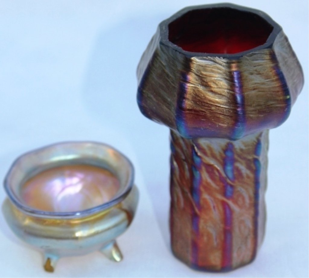 TWO PIECES OF ART GLASS, TIFFANY FOOTED SALT,