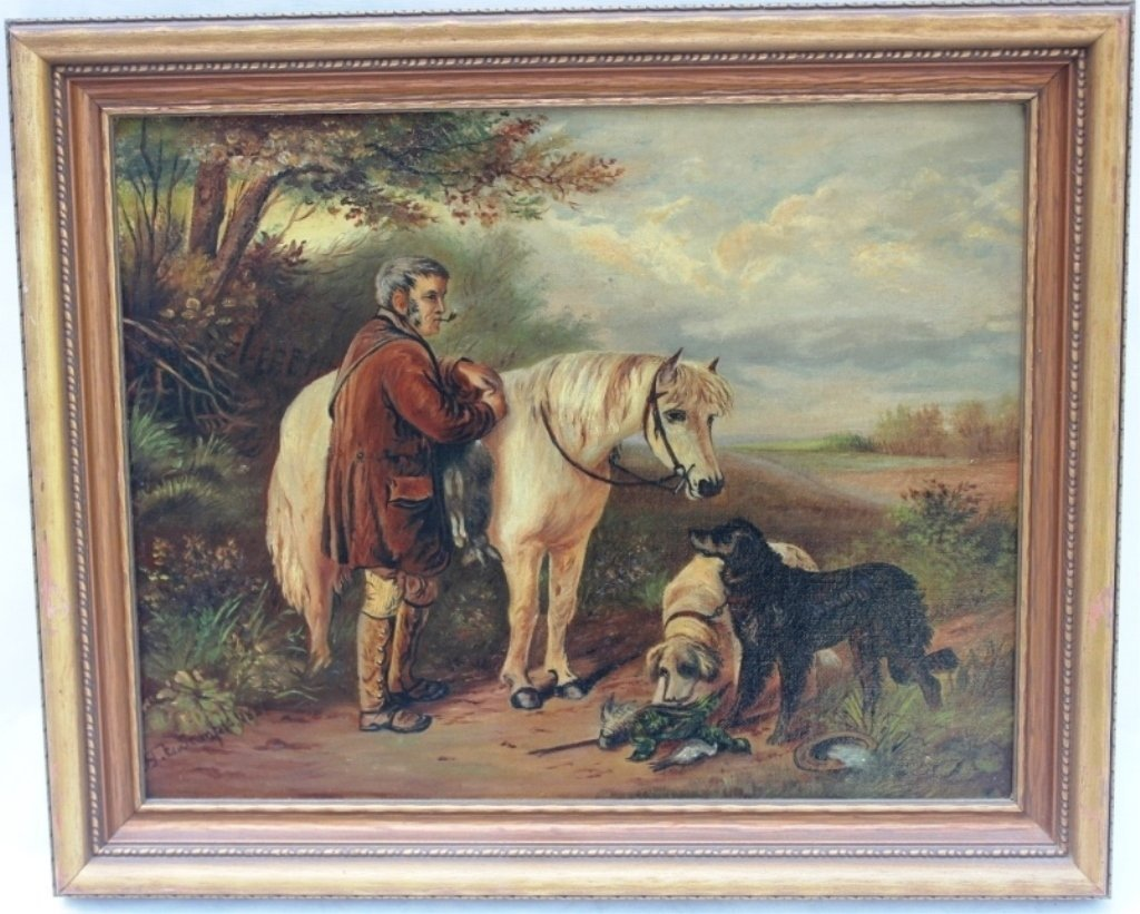 19TH C OIL PAINTING ON CANVAS, SIGNED H. E. SEMPLE