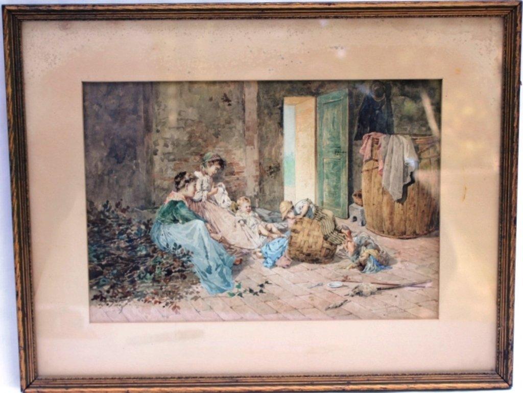ITALIAN WATERCOLOR, 19TH C SIGNED ROBERTI CARPECCI