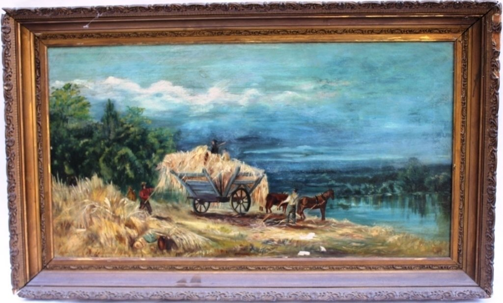 OIL PAINTING ON CANVAS, SIGNED M. E. HIXSON,