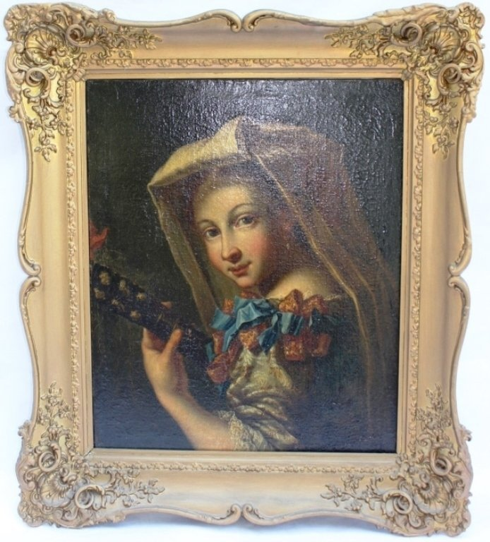 ITALIAN OIL PAINTING DEPICTING A YOUNG GIRL