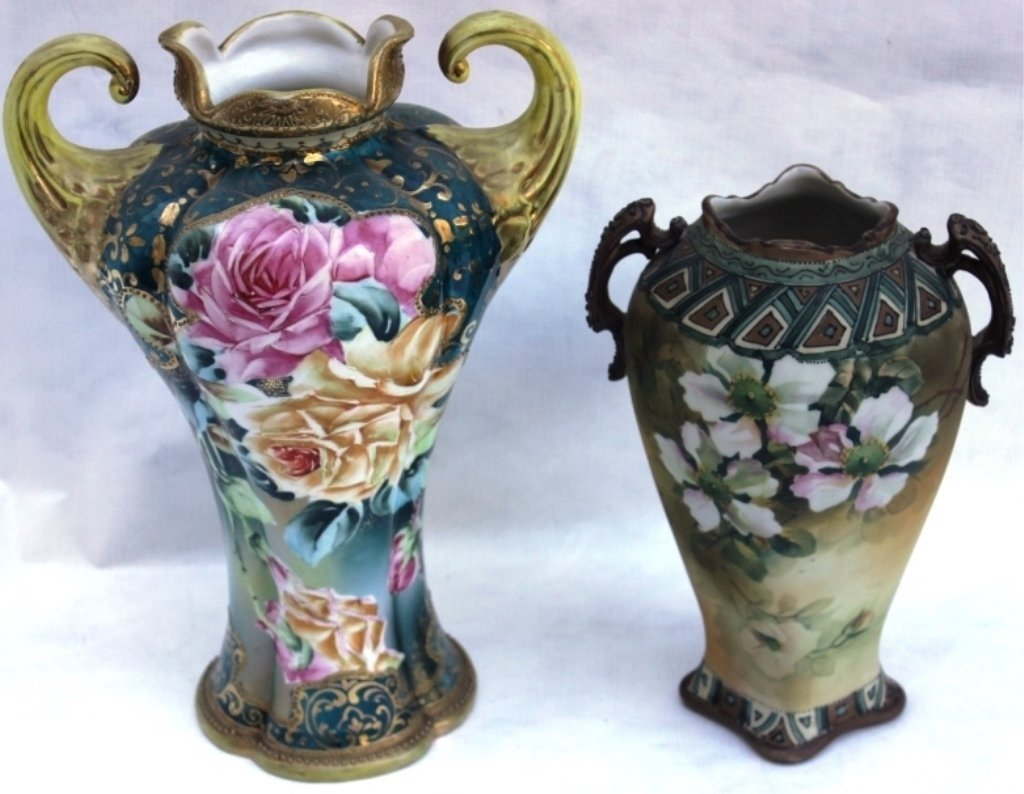 TWO NIPPON HANDLED VASES WITH HAND PAINTED FLORAL