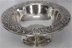 S. KIRK & SON STERLING FOOTED COMPOTE, FLORAL