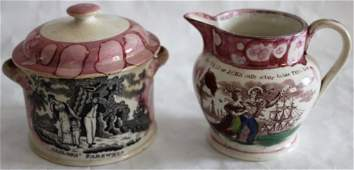 TWO 19TH C SUNDERLAND LUSTRE PIECES TO