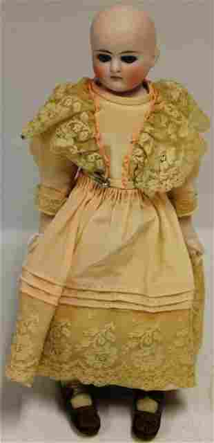 19TH C BISQUE HEAD DOLL, UNMARKED, FIXED BLUE