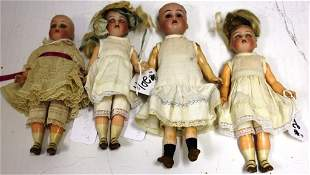 LOT OF FOUR SMALL HALBIG, K*R DOLLS,