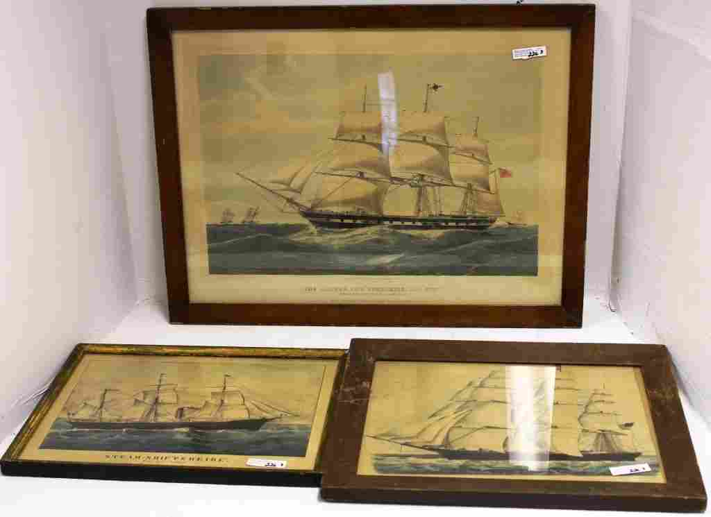LOT OF 3 19TH C FRAMED NAUTICAL PRINTS TO INCLUDE