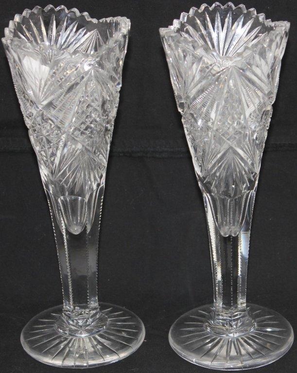 PAIR OF AMERICAN BRILLIANT PERIOD CUT GLASS VASES,