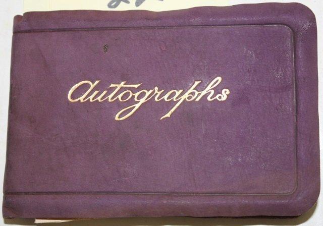 ANTIQUE BOUND LEATHER AUTOGRAPH ALBUM,
