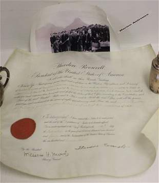 DOCUMENT SIGNED BY PRESIDENT THEODORE ROOSEVELT,