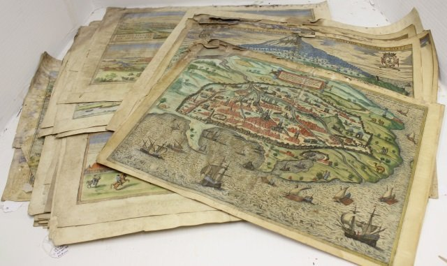 COLLECTION OF 51  16TH CENTURY HAND COLORED MAPS