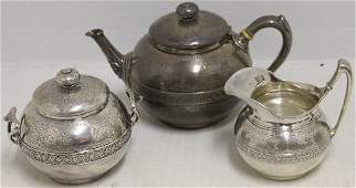 3 PC TIFFANY STERLING SILVER TEA SET MARKED