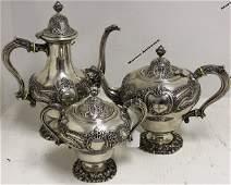 3 PC ORNATE 19TH C PORTUGUESE STERLING SILVER TEA