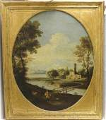 PAIR OF 18TH C ITALIAN OIL PAINTINGS ON CANVAS,