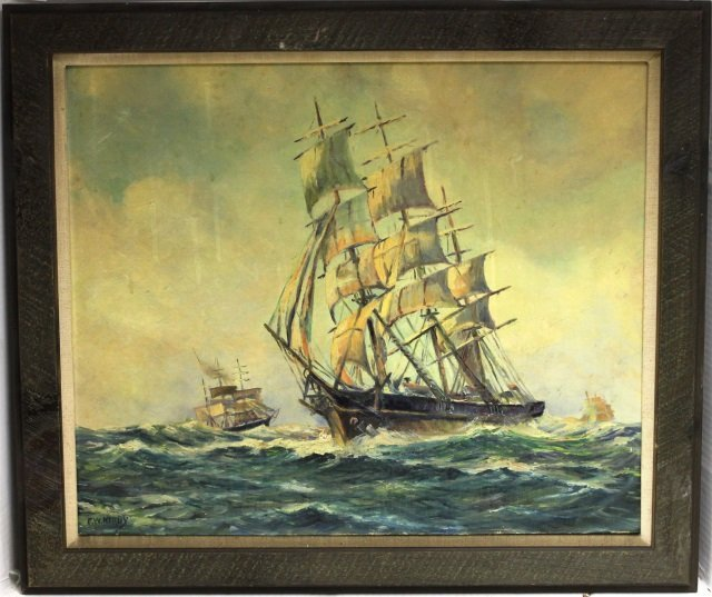 E W. KIRBY, NEW BEDFORD ARTIST, OIL PAINTING