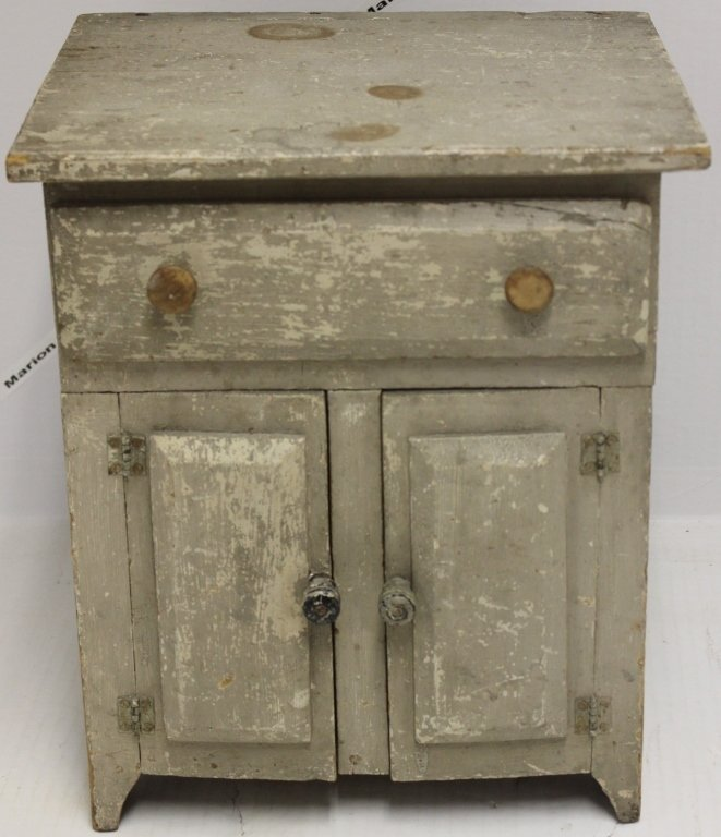 19TH CENTURY MINIATURE PINE JELLY CUPBOARD, OLD