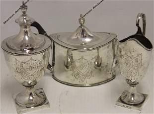 3 PIECE COIN SILVER 18TH CENTURY TEA SET BY D.