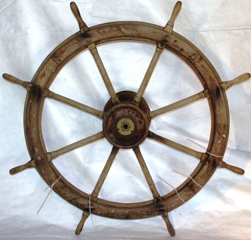 19TH CENTURY SHIPS WHEEL, HARDWOOD WITH BRASS