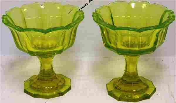 PAIR OF 19TH CENTURY CUT AND FACETED VASELINE