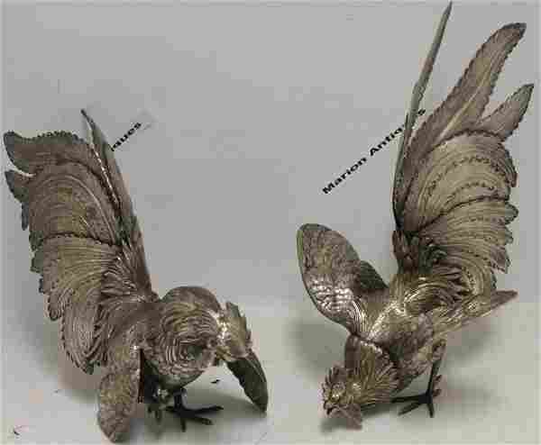 PAIR OF SILVER FIGHTING COCKS, MARKED 800, EARLY